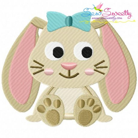 Easter Sitting Bunny Girl Embroidery Design