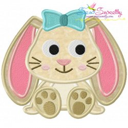 Easter Sitting Bunny Girl Applique Design