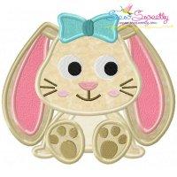 Easter Sitting Bunny Girl Applique Design