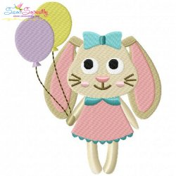 Easter Bunny With Balloons Embroidery Design