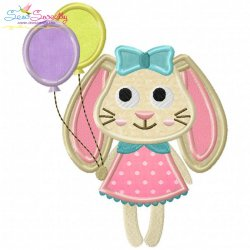 Easter Bunny With Balloons Applique Design