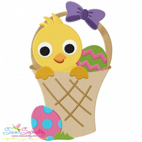 Easter Chick Basket Embroidery Design