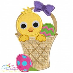 Easter Chick Basket Applique Design