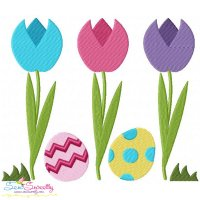 Easter Tulips With Eggs Embroidery Design