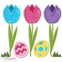 Easter Tulips With Eggs Applique Design