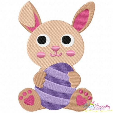 Easter Bunny With Egg Embroidery Design