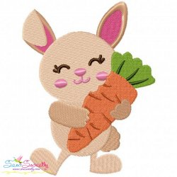 Easter Bunny With Carrot Embroidery Design