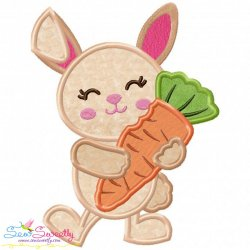 Easter Bunny With Carrot Applique Design