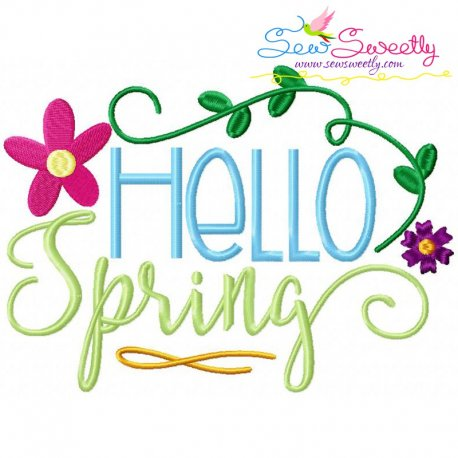 Hello Spring Floral Lettering Embroidery Design Pattern- Category- Summer And Spring Season- 1