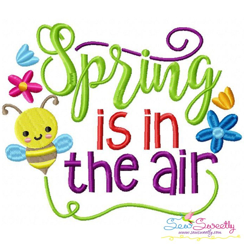 spring is in the air machine embroidery design for summer