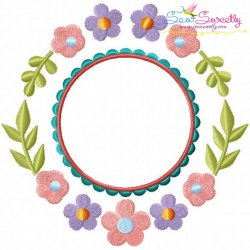Summer Flower Frame-10 Embroidery Design