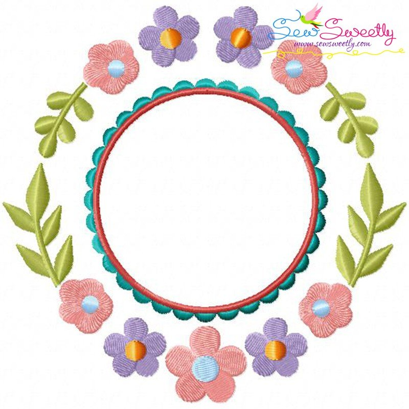 Summer flower frame machine embroidery design for pillows