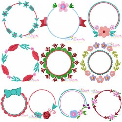Summer Flower Frames Embroidery Design Bundle