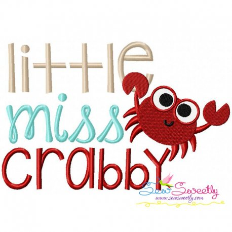 Little Miss Crabby Embroidery Design