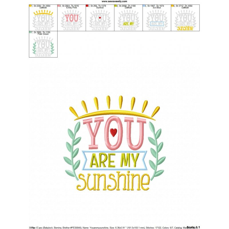 You Are My Sunshine Machine Embroidery Design