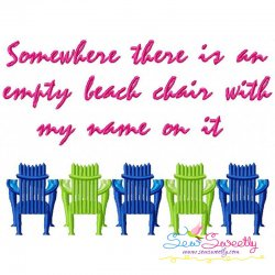 Empty Beach Chairs Embroidery Design