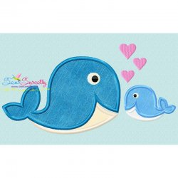 Whale Mom And Baby Applique Design