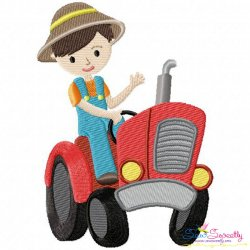 Farmer Boy Tractor Embroidery Design