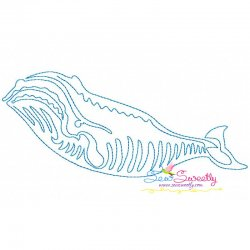 One Line Bean Stitch Blue Whale Embroidery Design