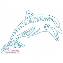 One Line Bean Stitch Dolphin Embroidery Design