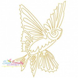 One Line Bean Stitch Gold Fish Embroidery Design