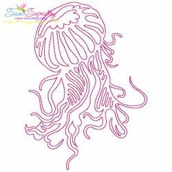 One Line Bean Stitch Jellyfish Embroidery Design
