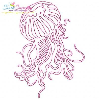 One Line Bean Stitch Jellyfish Embroidery Design