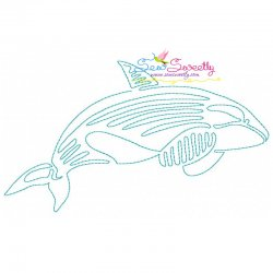 One Line Bean Stitch Killer Whale Embroidery Design