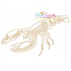 One Line Bean Stitch Lobster Embroidery Design