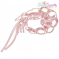 One Line Bean Stitch Prawn Embroidery Design