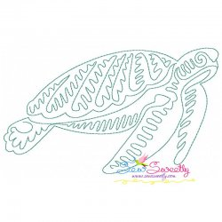 One Line Bean Stitch Sea Turtle Embroidery Design