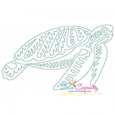 One Line Bean Stitch Sea Turtle Embroidery Design Pattern- Category- Redwork And Vintage Designs- 1