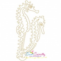 One Line Bean Stitch Seahorse Embroidery Design