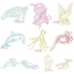 One Line Bean Stitch Sea Animals Embroidery Design Bundle
