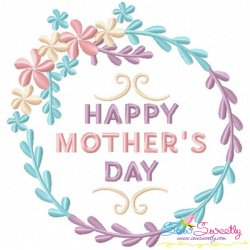 Happy Mother's Day Floral Frame-2 Embroidery Design