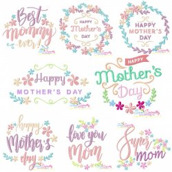Mother's Day Floral Embroidery Design Bundle