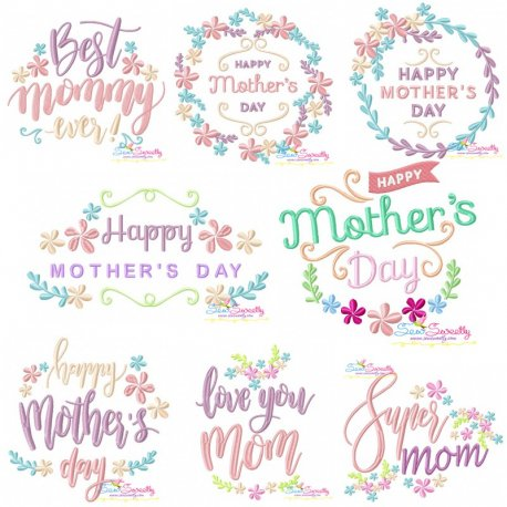 Mother's Day Floral Embroidery Design Bundle Pattern- Category- Embroidery Design Bundles- 1