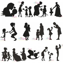Mother's Day Silhouette Embroidery Design Bundle