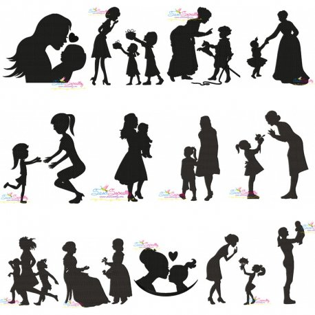 Free Mother's Day Silhouette Embroidery Design Bundle- Category- Embroidery Design Bundles- 1