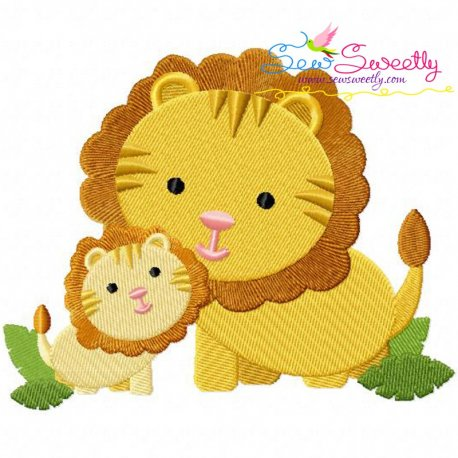 Lion Mom And Baby Embroidery Design