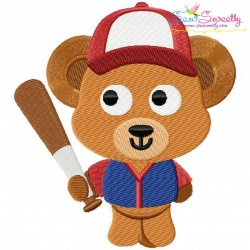 Baseball Bear Embroidery Design