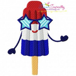 Red White Blue Popsicle Embroidery Design