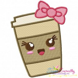 Kawaii Coffee With Bow Embroidery Design