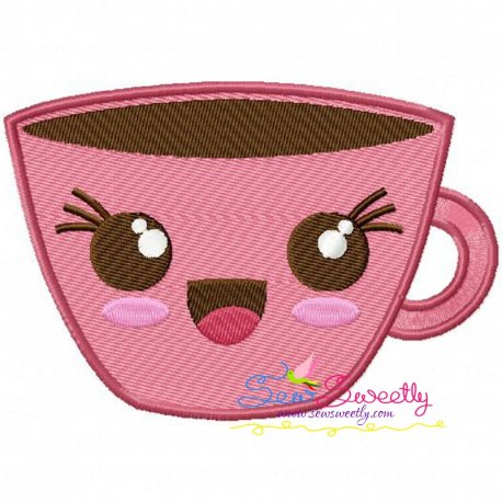 Kawaii Coffee Cup Embroidery Design Pattern- Category- Kitchen and Food Designs- 1