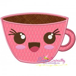 Kawaii Coffee Cup Applique Design