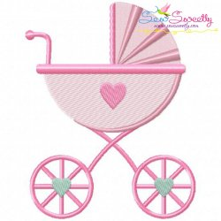 Baby Girl Stroller Embroidery Design