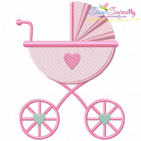 Baby Girl Stroller Machine Embroidery Design For Babies