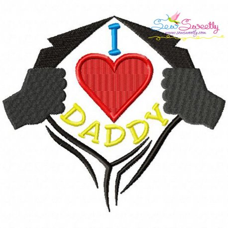 I Heart Daddy Embroidery Design
