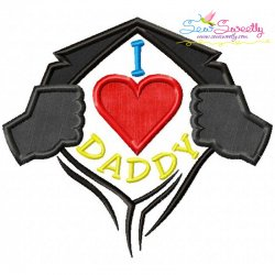 I Heart Daddy Applique Design