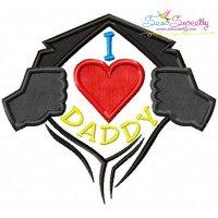 I Heart Daddy Applique Design